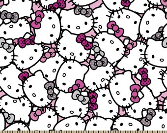 "New Hello Kitty Fabric, Cartoon Fabric: Hello Kitty Heads Packed 96% cotton and 4 percent of Spandex Fabric By The Yard 36""x 58"" (U48)"