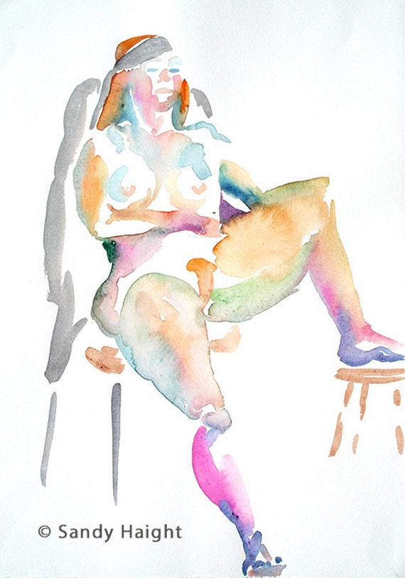 Original Watercolor Life Drawing, 25% off SALE! Redhead, art, nude, female, seated,frontal, unframed, painting, home decor, wall art, orange