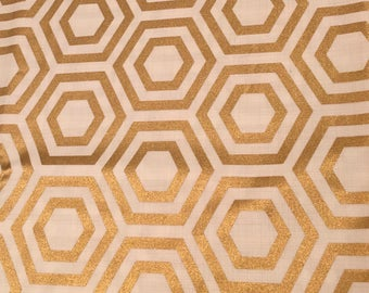 Hexagon Metallic Gold yardage