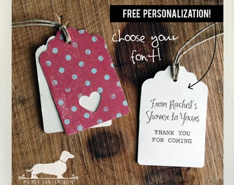 Polka Heart. Personalized Gift Tags (Set of 12) -- (Simple, Heart, Custom, Dot, Baby Shower, Bridal Shower, Wedding, Free Personalization)