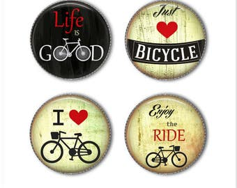 Bicycle magnets or bicycle pins, bicycling magnets, bicycling pins, Enjoy the Ride, refrigerator magnets, fridge, office