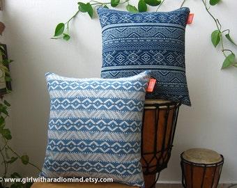 2 Blue Denim Navajo Throw Pillows - Dark and Light Denim Blue - 16x16 inches