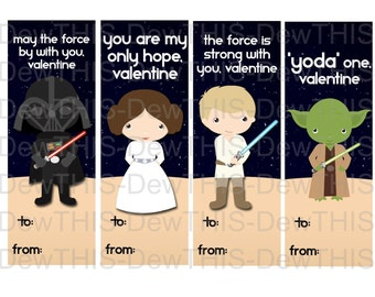 Star Wars- Class Valentine Bookmarks-INSTANT DOWNLOAD