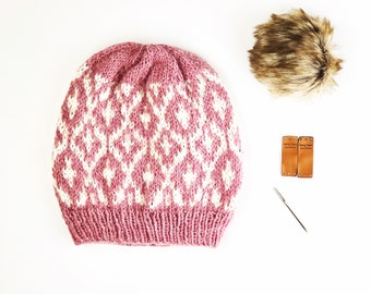 Thessa Beanie // Ready to Ship // Lightweight and Warm / Cool Weather Accessory / Fair-Isle Hand Knitted Beanie / One of a Kind / For Her