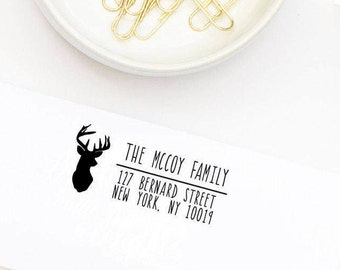 Return Address Stamp, Custom Address Stamp, Personalized Address Stamp, Self-Inking Address, Wedding Stamp, Deer Address Stamp No. 29