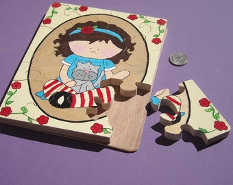 Wooden Children's  Jigsaw Puzzle - Hand Painted - Best Friends --My Kitty and Me