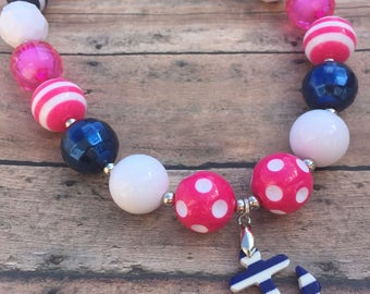 Anchor Necklace - Anchor - Anchor Jewelry - Chunky necklace - Bubblegum Necklace - Toddler necklace - Summer - Nautical necklace