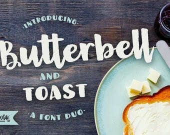 Fonts: Butterbell & Toast, a happy textured brush font duo