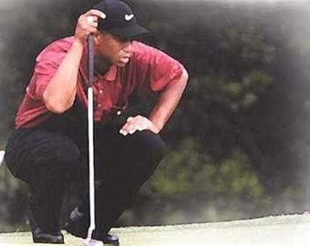 Rare Tiger Woods Limited Golf Lithograph
