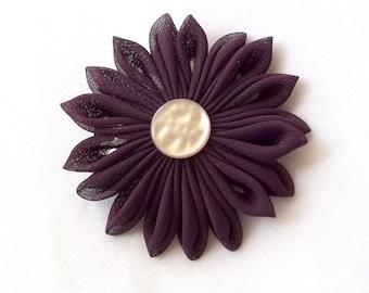 Plum Chiffon Kanzashi Hair Flower Barrette Clip