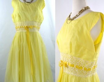1950s/1960s Yellow Dotted Swiss Overlay Prom, Spring Formal Dress