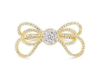 Intricate 0.56ct 14k Yellow Gold Diamond Ribbon Bow Ring