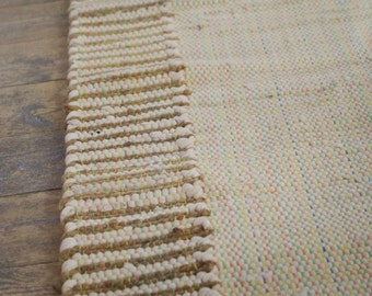 Cream Cotton and Jute Runner Rag Rug 60 x 180cm Hand Made Recycled Boho Scandi Hippie Loom Woven Traditional