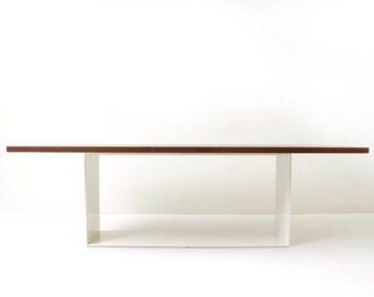 Minimalist Dining Table - Large Rectangular Modern Dining Table with Metal Base