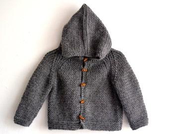 Hand Knitted unisex kids, baby, toddler Wool Alpaca Hoodie Cardigan, Jacket, Chunky, Duffel Coat