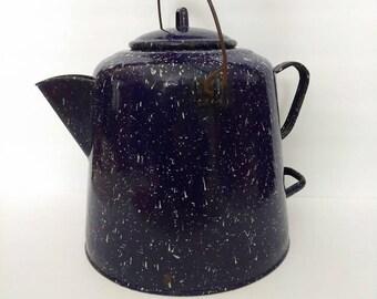 Vintage Large Dark Blue Graniteware Speckled Coffee Pot with Metal Bail Handle - Enamelware Coffee Pot