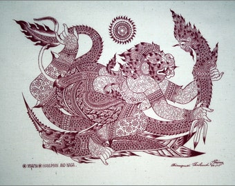Thai traditional art of Hanuman And Naga by printing on Natural colors cloth.(Red)