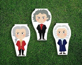 Magnetic Bookmark Set | Mozart Beethoven Bach Magnet Cute Book Bookmarks Pack of 3, Magnetic Cute Quirky Kawaii Classical Music Composers
