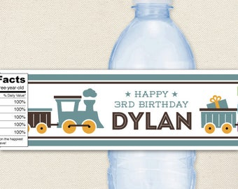 Vintage Train Party - 100% waterproof personalized water bottle labels
