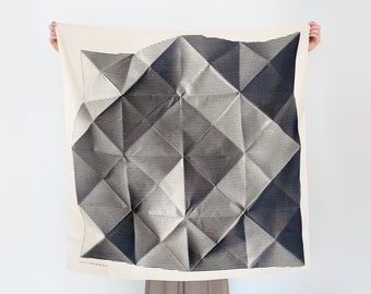 Folded Paper furoshiki (black) Japanese eco wrapping textile/scarf, handmade in Japan