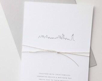 City Skyline Wedding Invitation Sample | Letterpress Wedding Invitation | New York | Chicago | Los Angeles | Boston | San Francisco