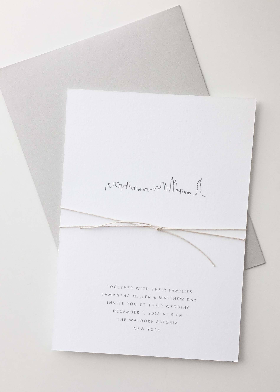 City Skyline Wedding Invitation Sample Letterpress Wedding