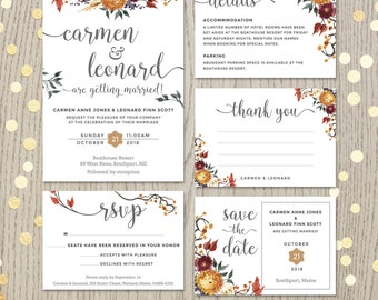 Fall wedding invitation set, floral wedding, autumn flowers, personalized invitation, customized cards, wedding printables, DIGITAL files