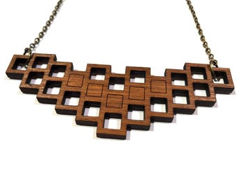 Bamboo necklace laser cut, Wooden jewelry