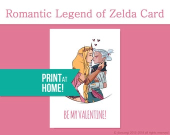 Legend of Zelda Valentine's Card | Be My Valentine | Printable Card | Lesbian Valentine Card | Printable Valentines Card - INSTANT DOWNLOAD