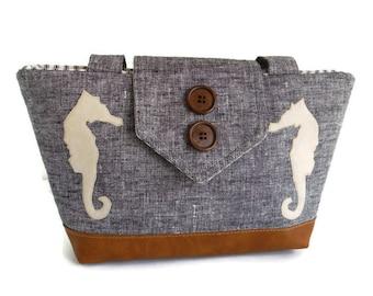 SEAHORSES - Pure Linen Wayfarer Purse - Indigo Weave - Handmade Appliques - Nautical - Vegan Shoulder Bag - Seaside