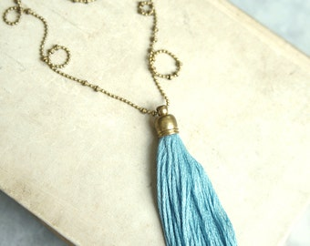 Tassel Necklace, Harbour Blue Tassel Necklace, Long Tassel Necklace, Layering Tassel Necklace