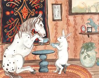 Tea with Pony - Fine Art Rabbit Print