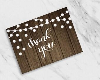 Thank You Woodgrain + String Lights Shower / Wedding / Thank You Cards