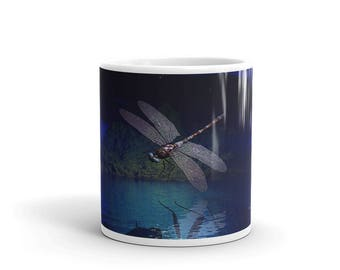 Dragonfly Reflections Mug, Dragonfly at Night, Dragonfly over Water, Dragonfly Mug