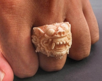 Balinese Barong Ring, Hand Carved Bone Ring, Demon Ring, Monster Ring, Cool Rigs, Taxidermy, Mens Skull Ring.