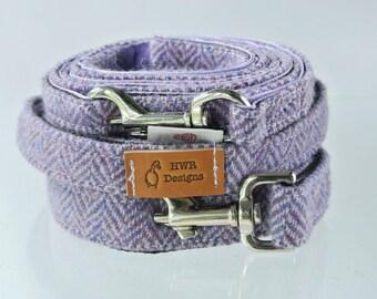 Harris Tweed Dog Leash, Purple Tweed Dog lead. Tweed lavender herringbone leash, Tweed  Dog lead.