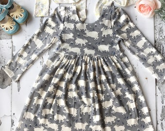 Organic one of a kind dolly and me coordinating 5T Easter and doll dress