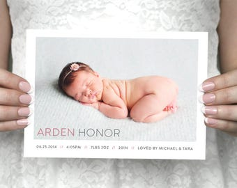 Custom printable modern baby announcement - Arden.