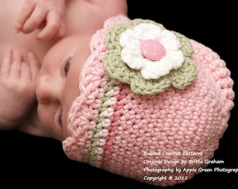 Baby Hat Crochet Pattern with Shell Trim - Crochet Hat Pattern in Preemie, Newborn, Baby and Toddler Sizes No.104 ePattern English