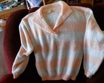 Vintage Peaches and Cream Striped  Sweater With Buttons on the Front Opening by Jamie Scott