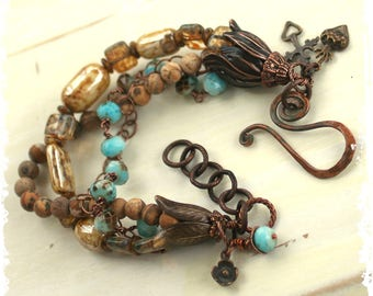 Rustic Bohemian Multi-strand Flower Charm Bracelet Protection Love Amulets Talismans Aqua Blue Glass Stone Beads and Copper 7th Anniversary