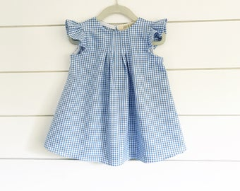 Light Blue Gingham Dress,Girls Dorothy Dress, Flutter Sleeve Dress,gingham dress,Baby Dorothy Dress, Dorothy costume, flutter sleeve dress