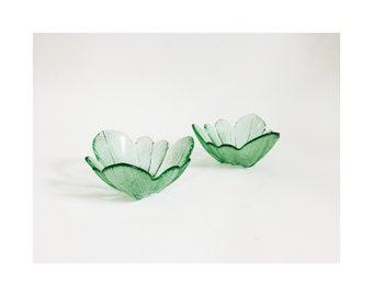 Vintage Green Pressed Glass Flower Bowls / Set of 2