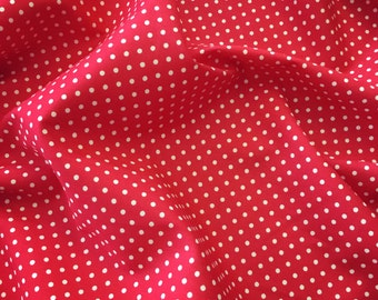 Red and white 3mm spot polka dot 100% cotton poplin fabric by Rose and Hubble BY HALF METRE