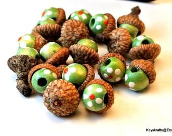 Green Painted Flower Bead Acorn Cap Thumbtacks Push Pins 10mm Green Beads 17 Bead Acorn Pushpins Natural Acorn Caps