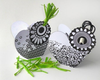 DIY printable heart shape gift box, black white, geometrical pattern, gift package, digital favor box template, graphic embellishments
