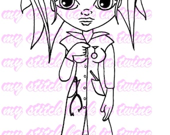 Digital stamp colouring image - Nurse Darcee . jpeg / png