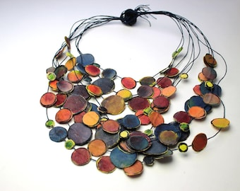 Portable painting necklace berries Blue red orange purple