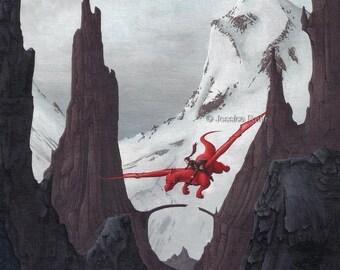 Fantasy Art Print- Flight to the North - 8.5x11 Open Edition Print - Fantasy Elf and Dragon Art