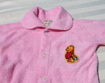 Newborn Infant Winnie the Pooh Sleeper in Pink Terrycloth -